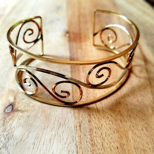 Vintage Yellow & Rose Gold Scroll Cuff Bangle